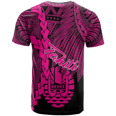Tahiti Polynesian Custom Personalised T-Shirt - Tribal Wave Tattoo Pink - BN12