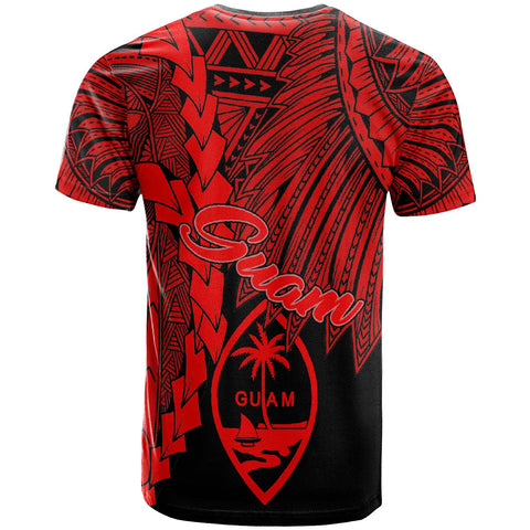 Guam Polynesian T-Shirt - Tribal Wave Tattoo Red - BN12