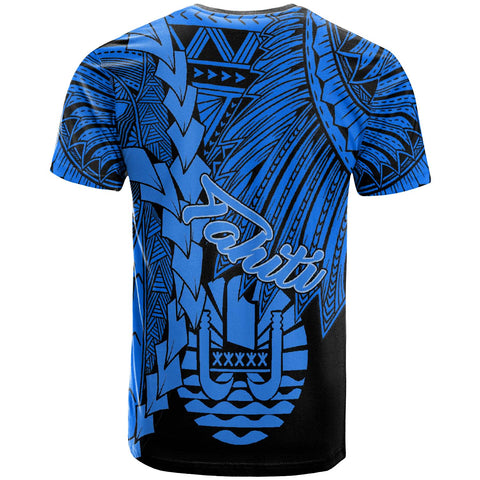 Tahiti Polynesian Custom Personalised T-Shirt - Tribal Wave Tattoo Blue - BN12