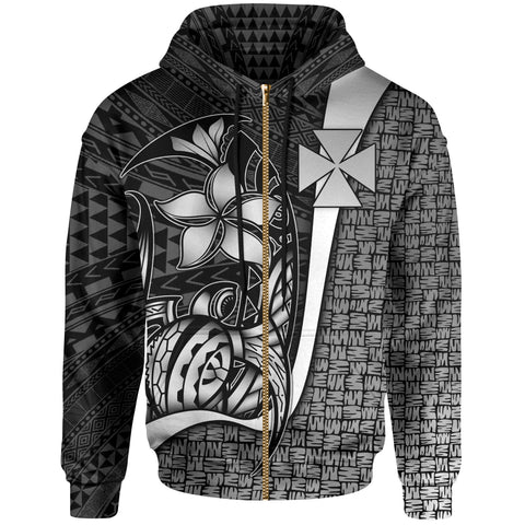 Wallis and Futuna Polynesian Zip-Up Hoodie White - Turtle with Hook