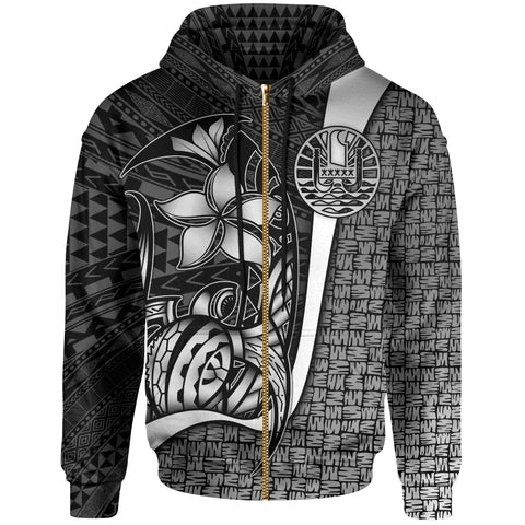 Tahiti Polynesian Zip-Up Hoodie White - Turtle with Hook