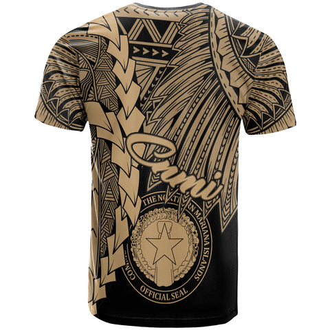 Northern Mariana Islands Polynesian T-Shirt - Tribal Wave Tattoo Gold - BN12