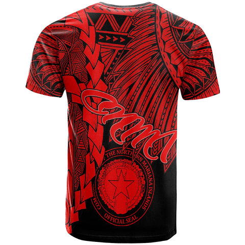 Northern Mariana Islands Polynesian T-Shirt - Tribal Wave Tattoo Red - BN12