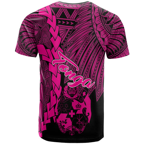 Tonga Polynesian Custom Personalised T-Shirt - Tribal Wave Tattoo Pink - BN12
