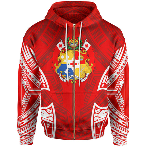Image of Tonga Polynesian Zip-Up Hoodie - Pattern With Seal Red Version