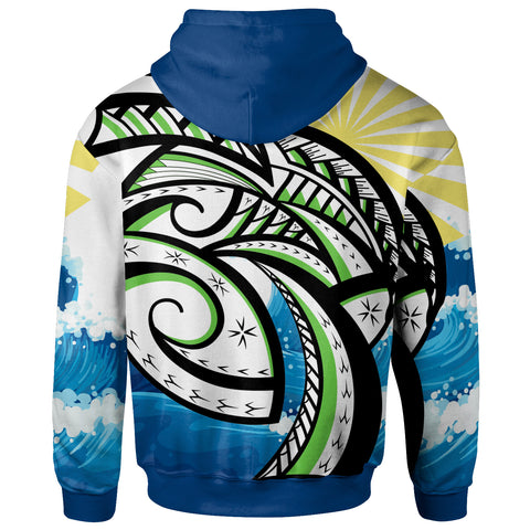 Image of Polynesian Zip-Up Hoodie - Dawn Sea Waves Pattern - BN20