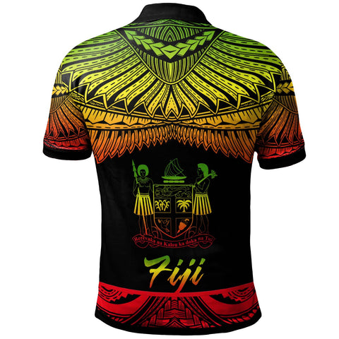 Fiji Polynesian Custom Personalised Polo Shirt - Poly Tattoo Reggae Version - BN12