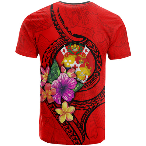 Tonga Polynesian T-shirt - Floral With Seal Red - BN12