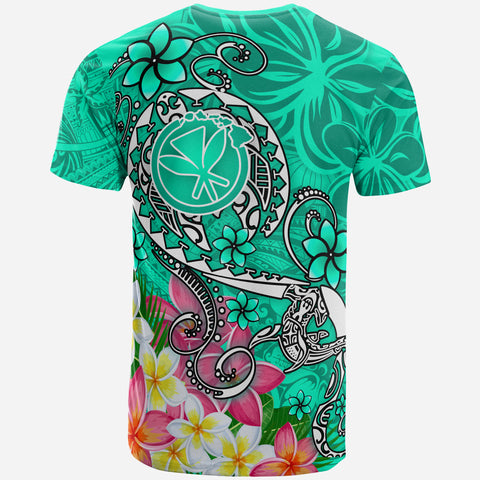 Image of Hawaii T-shirt - Turtle Plumeria Polynesian Tattoo Turquoise Color - BN18