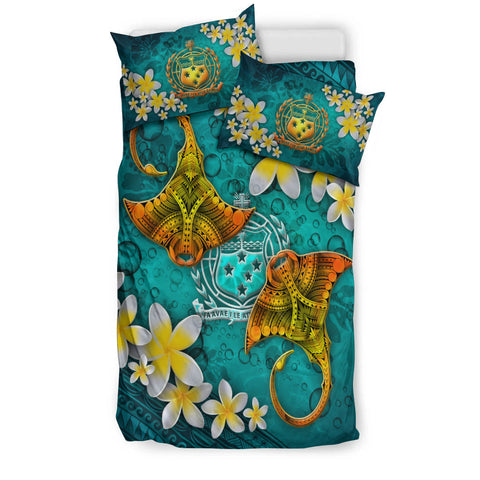 Image of Samoa Polynesian Bedding Set - Manta Ray Ocean - BN12