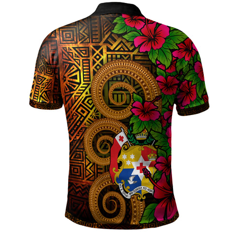 Tonga Polynesian Custom Personalised Polo Shirt - Hibiscus Vintage - BN12