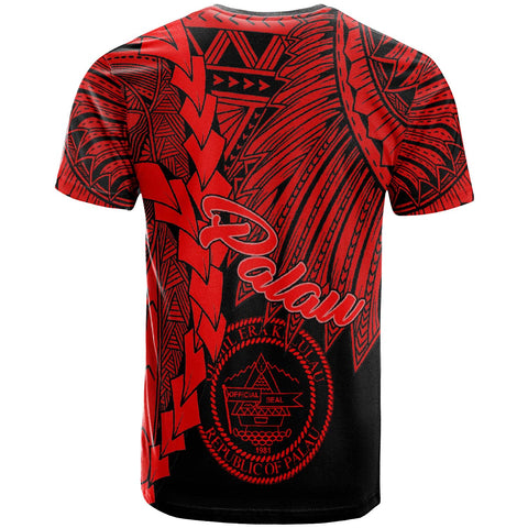 Image of Palau Polynesian T-Shirt - Tribal Wave Tattoo Red - BN12