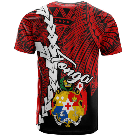 Image of Tonga Polynesian Custom Personalised T-Shirt - Tribal Wave Tattoo Flag Color - BN12