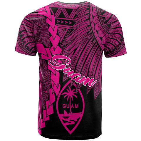 Guam Polynesian T-Shirt - Tribal Wave Tattoo Pink - BN12