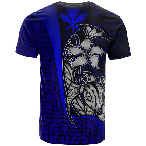 Polynesian Hawaii T-Shirt Kanaka Maoli Blue - Turtle with Hook