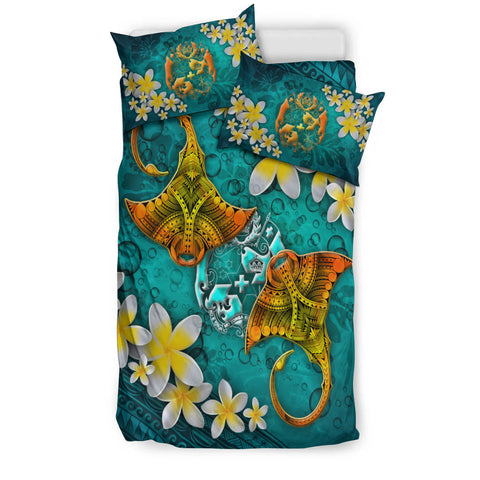 Tonga Polynesian Bedding Set - Manta Ray Ocean - BN12