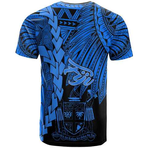 Image of Fiji Polynesian T-Shirt - Tribal Wave Tattoo Blue - BN12