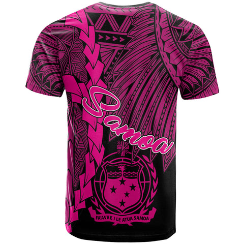 Samoa Polynesian Custom Personalised T-Shirt - Tribal Wave Tattoo Pink - BN12