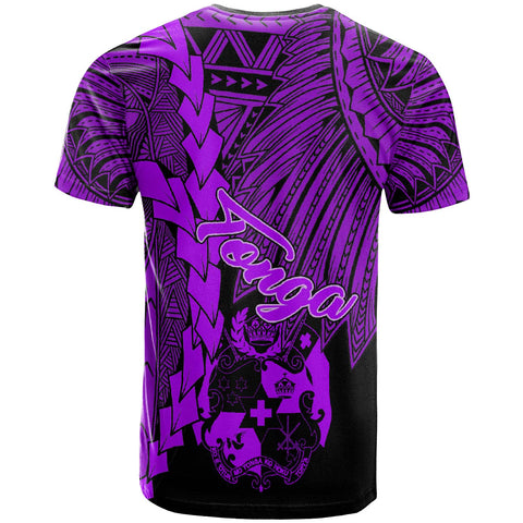 Tonga Polynesian Custom Personalised T-Shirt - Tribal Wave Tattoo Purple - BN12