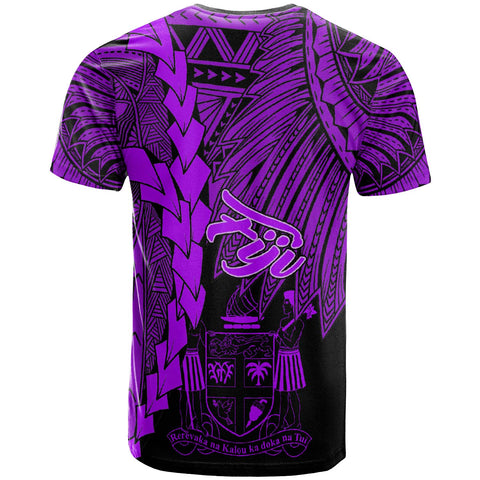 Fiji Polynesian Custom Personalised T-Shirt - Tribal Wave Tattoo Purple - BN12