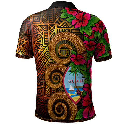 Image of Guam Polynesian Custom Personalised Polo Shirt - Hibiscus Vintage - BN12