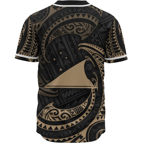 Tokelau Polynesian Custom Personalised Baseball Shirt - Gold Tribal Wave - BN12
