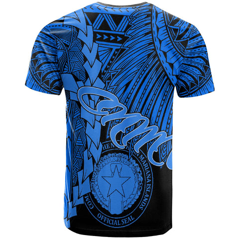 Northern Mariana Islands Polynesian T-Shirt - Tribal Wave Tattoo Blue - BN12