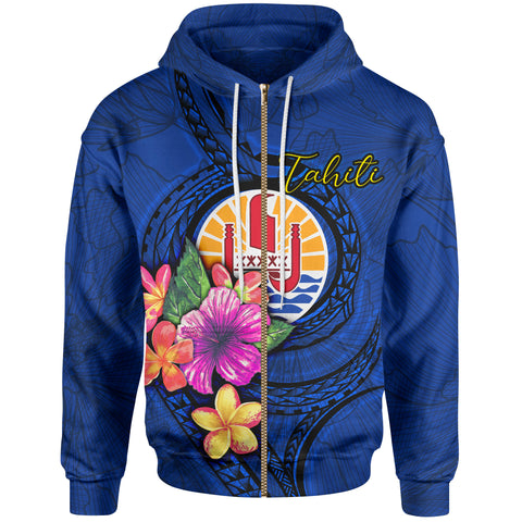 Image of Tahiti Polynesian Zip-Up Hoodie - Floral With Seal Blue