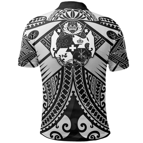 Tonga Polynesian Polo Shirt - Tonga White Seal with Polynesian tattoo - BN18