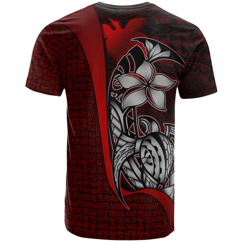 Papua New Guinea Polynesian Custom Personalised T-Shirt Red - Turtle with Hook