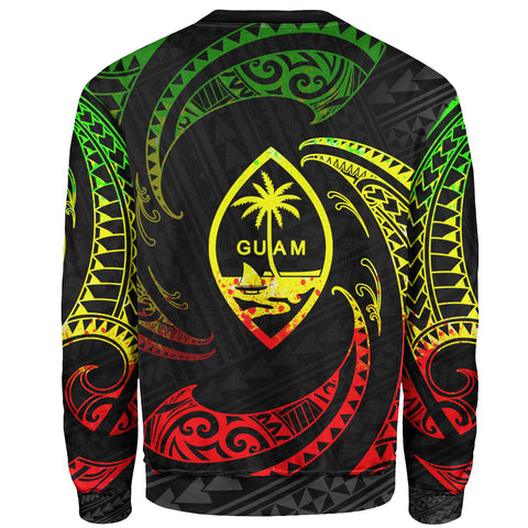 Guam Polynesian Custom Personalised Sweater - Reggae Tribal Wave - BN12