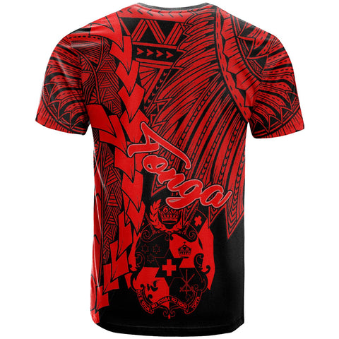 Tonga Polynesian Custom Personalised T-Shirt - Tribal Wave Tattoo Red - BN12