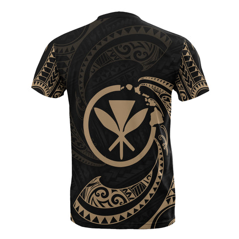 Hawaii Polynesian Custom Personalised T-Shirt - Gold Tribal Wave - BN12