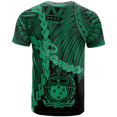 Samoa Polynesian Custom Personalised T-Shirt - Tribal Wave Tattoo Green - BN12