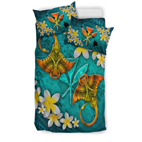 Hawaii Polynesian Bedding Set - Manta Ray Ocean - BN12