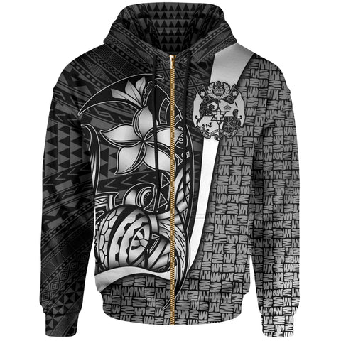 Image of Tonga Polynesian Zip-Up Hoodie White - Turtle with Hook