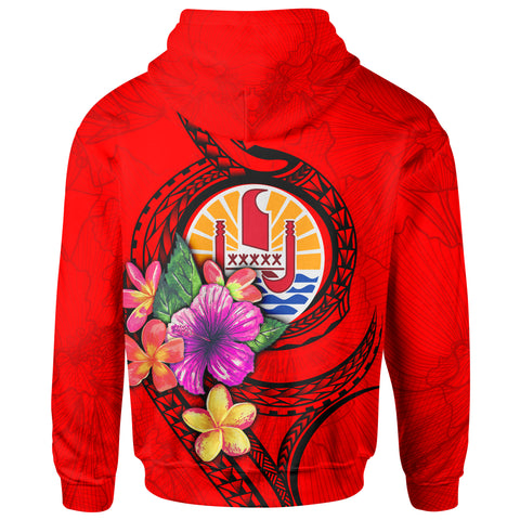 Tahiti Polynesian Zip-Up Hoodie - Floral With Seal Red - BN12