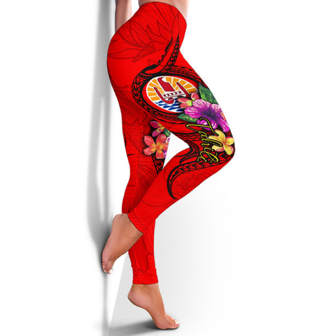 Image of Tonga Polynesian Women's Leggings - Floral With Seal Red - BN12