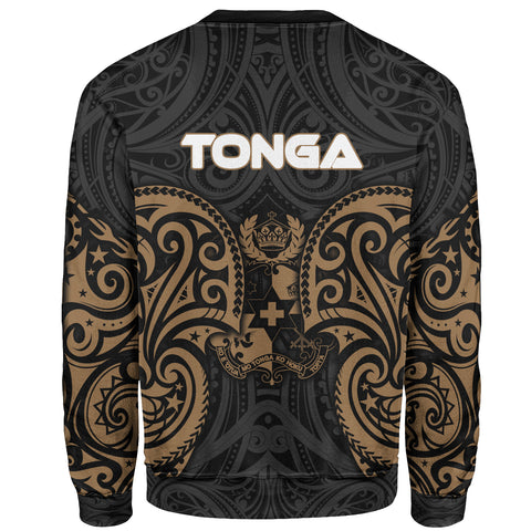 Tonga Polynesian Custom Personalised Sweater - Spirit Style Gold - BN12