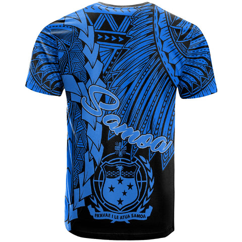 Samoa Polynesian T-Shirt - Tribal Wave Tattoo Blue - BN12