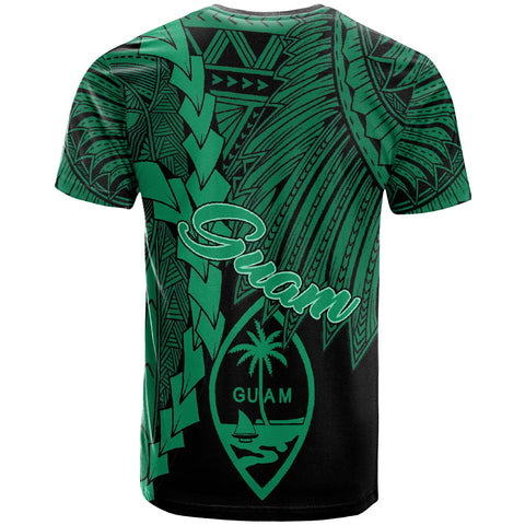 Image of Guam Polynesian T-Shirt - Tribal Wave Tattoo Green - BN12