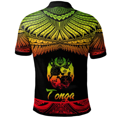 Tonga Polynesian Custom Personalised Polo Shirt - Poly Tattoo Reggae Version - BN12