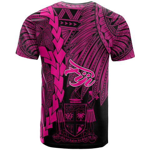 Fiji Polynesian T-Shirt - Tribal Wave Tattoo Pink - BN12