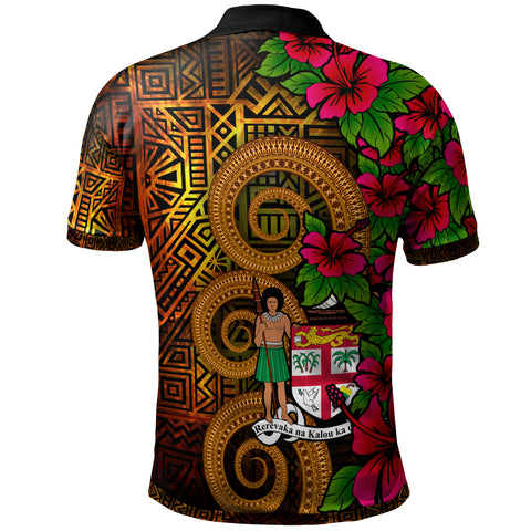 Image of Fiji Polynesian Custom Personalised Polo Shirt - Hibiscus Vintage - BN12