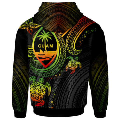 Image of Guam Custom Personalised Zip-Up Hoodie - Reggae Turtle