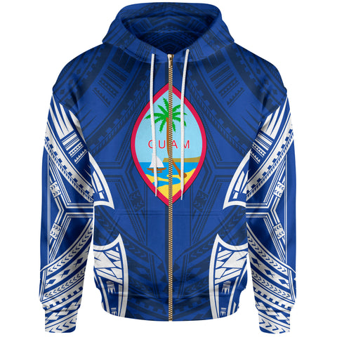 Guam Polynesian Zip-Up Hoodie - Pattern With Seal Blue Version