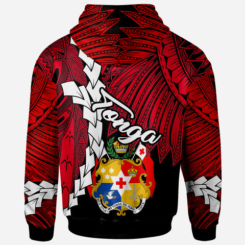 Image of Tonga Polynesian Zip-Up Hoodie - Tribal Wave Tattoo Flag Color - BN12