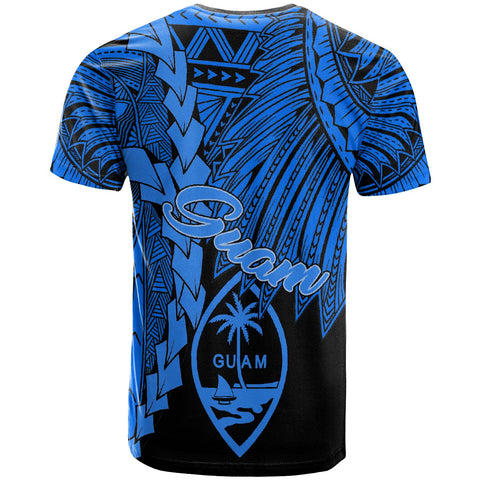 Guam Polynesian T-Shirt - Tribal Wave Tattoo Blue - BN12