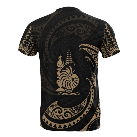 New Caledonia Polynesian Custom Personalised T-Shirt - Gold Tribal Wave - BN12