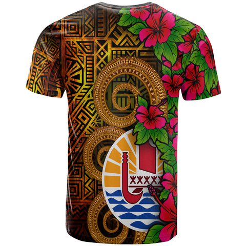 Image of Tahiti Polynesian T-Shirt - Tiki With Hibiscus - BN12